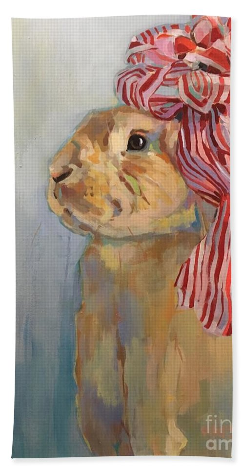 Bunny Bath Towel featuring the painting Peppermint by Kimberly Santini