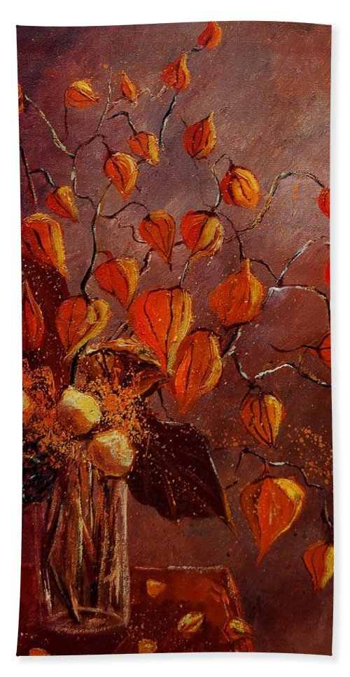 Flowers Hand Towel featuring the painting Physialis by Pol Ledent