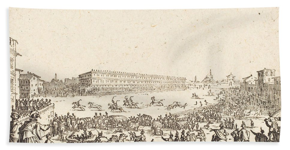 Hand Towel featuring the drawing Piazza Santa Croce, Florence by Jacques Callot