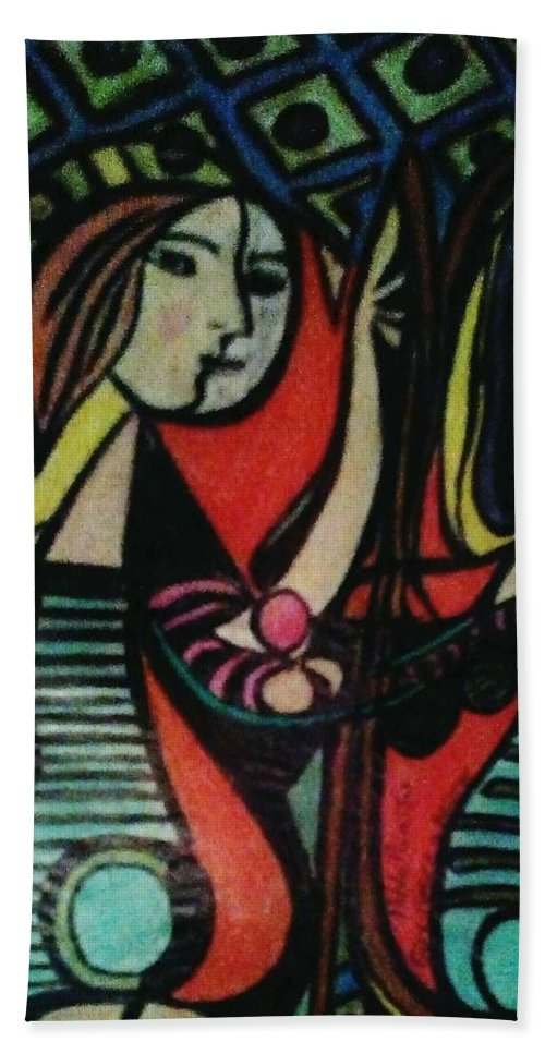 Picasso Bath Sheet featuring the drawing Picasso's Girl Beside A Mirror by Gordon Wilner