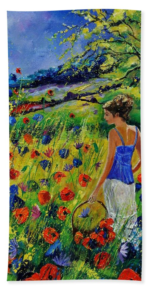 Flowers Hand Towel featuring the painting Picking Flowers by Pol Ledent