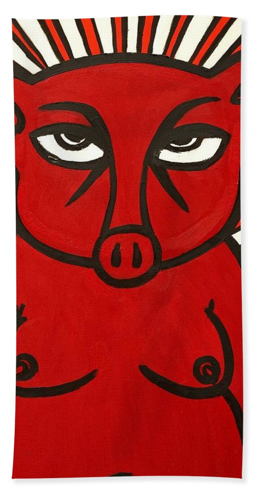 Clay Bath Towel featuring the painting pig by Thomas Valentine