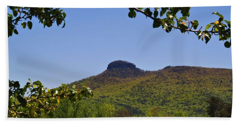 Pilot Mountain Hand Towel featuring the photograph Pilot Mountain In Spring Green by Kathryn Meyer