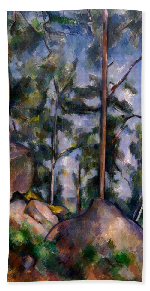 Country Hand Towel featuring the painting Pines And Rocks by Paul Cezanne