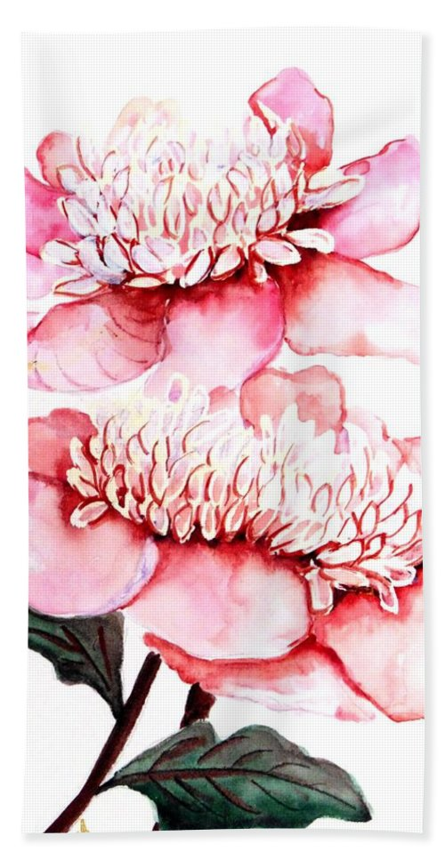 Pink Flower Hand Towel featuring the painting Pink Peony 2 by Karin Dawn Kelshall- Best