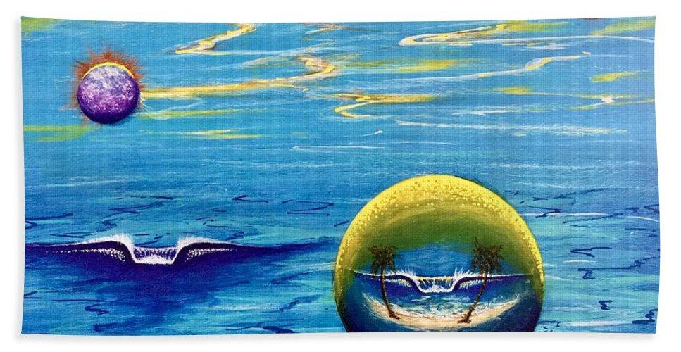 Planetsurfprint Hand Towel featuring the painting Planet Surf by Paul Carter