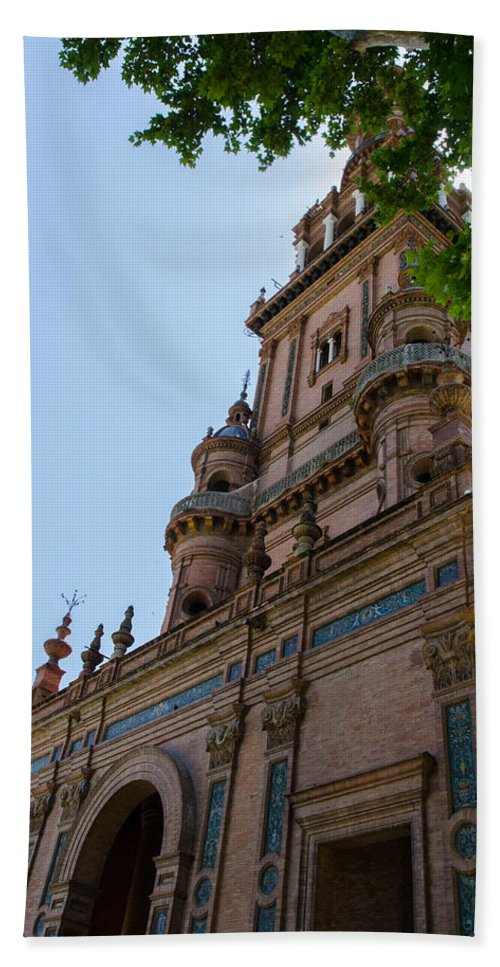 Seville Hand Towel featuring the photograph Plaza De Espana - Seville - Spain by Andrea Mazzocchetti