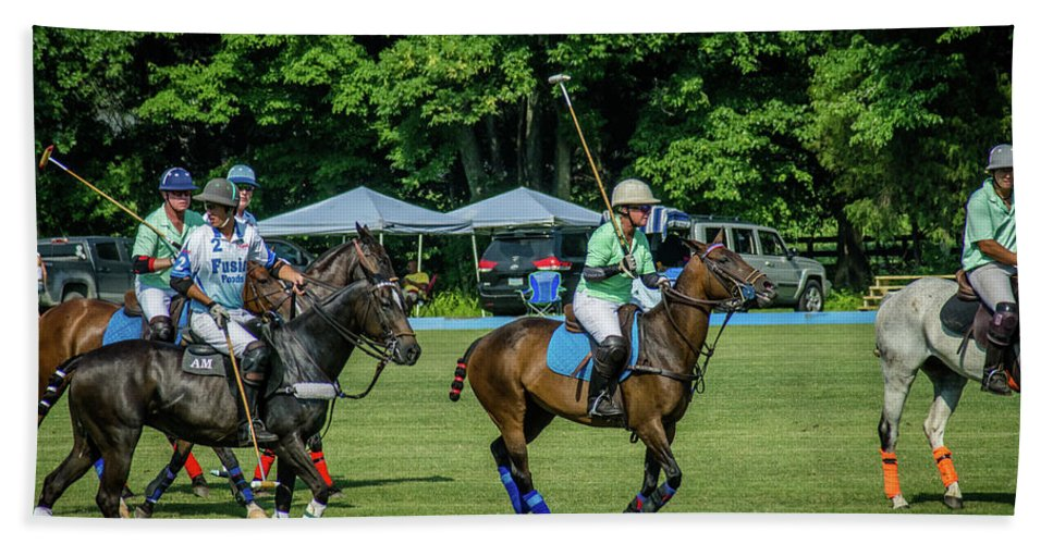 Banbury Cross Bath Towel featuring the photograph Polo Group 1 by Sarah M Taylor