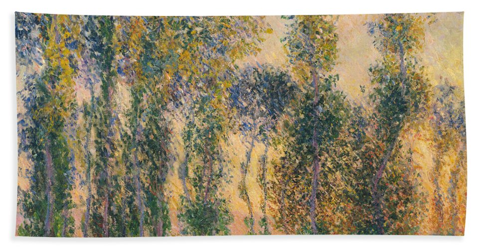 Claude Monet Hand Towel featuring the painting Poplars At Giverny, Sunrise by Claude Monet