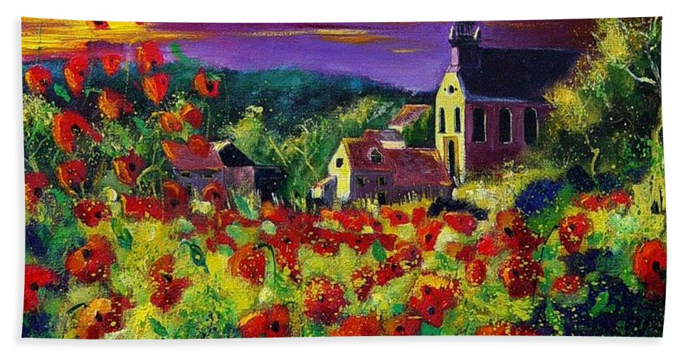 Flowers Hand Towel featuring the painting Poppies In Foy by Pol Ledent