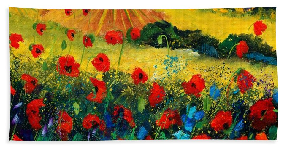 Flowers Hand Towel featuring the painting Poppies In Tuscany by Pol Ledent