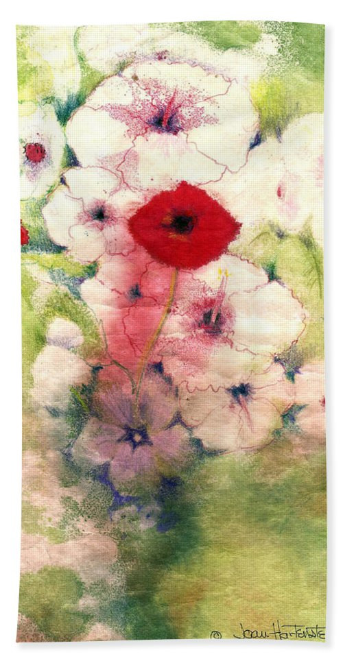 Flowers Bath Sheet featuring the painting Poppies by Joan Hartenstein