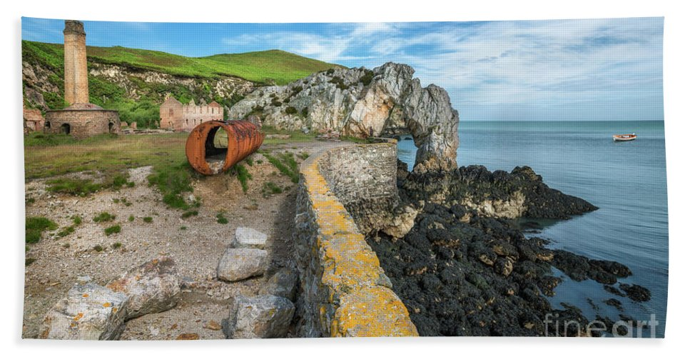 Anglesey Hand Towel featuring the photograph Porth Wen Brickworks by Adrian Evans