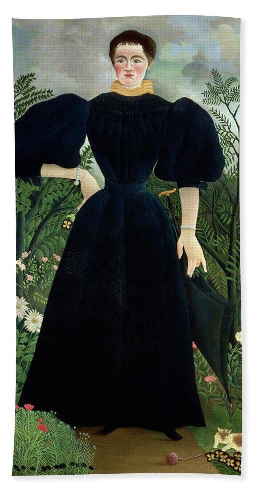 Portrait Bath Towel featuring the painting Portrait Of A Woman 1 by Henri Rousseau