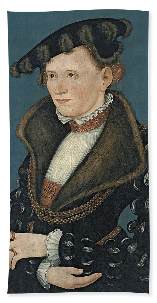 Lucas Cranach The Younger Hand Towel featuring the painting Portrait Of A Woman by Lucas Cranach the Younger