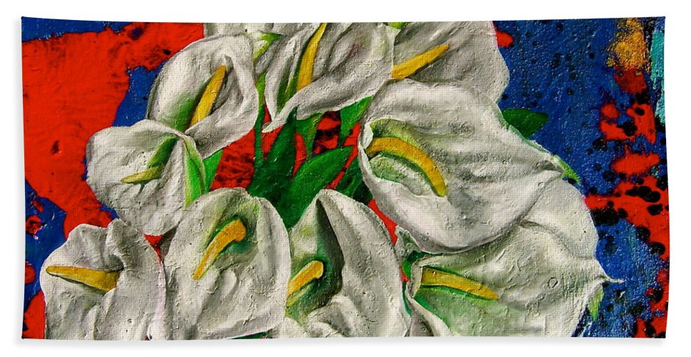 Orchid Painting Bath Sheet featuring the painting Preacher In The Pulpit by Laura Pierre-Louis