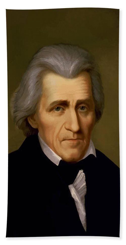 Andrew Jackson Hand Towel featuring the painting President Andrew Jackson - Two by War Is Hell Store