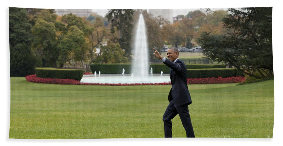 President Hand Towel featuring the photograph President Obama - White House South Lawn #1 by B Christopher