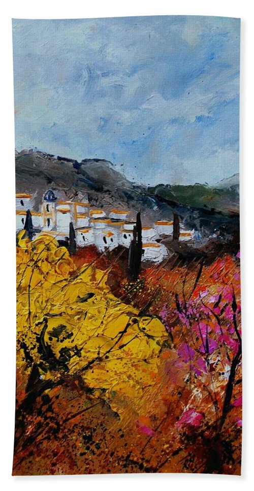 Provence Hand Towel featuring the painting Provence by Pol Ledent