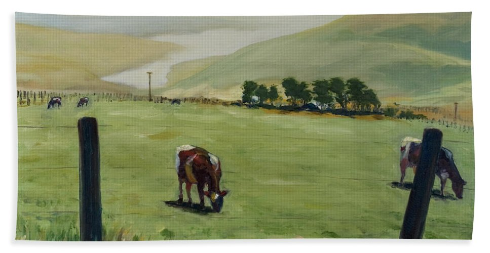 Landscape Bath Towel featuring the painting Pt. Reyes by Rick Nederlof