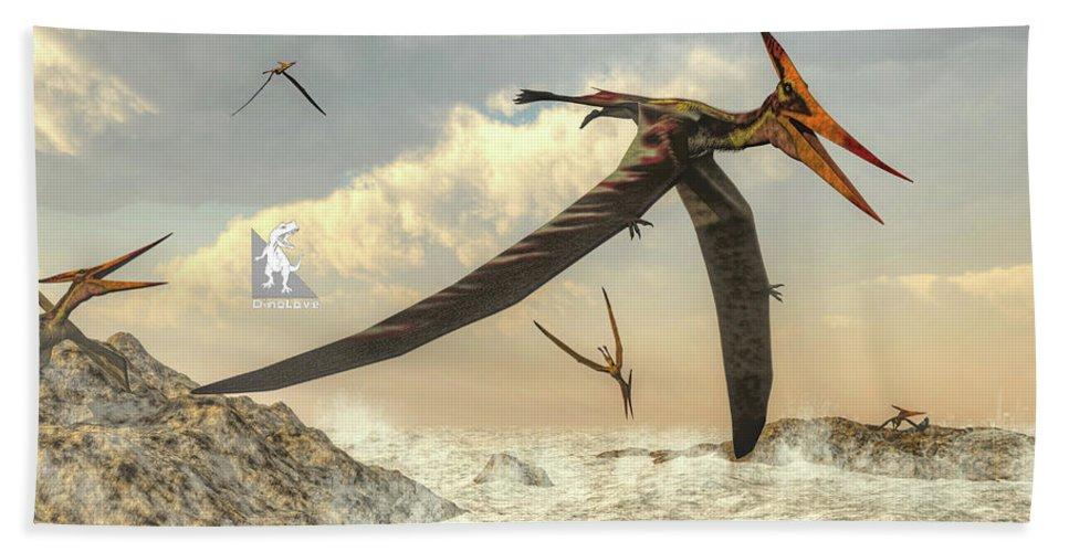 Dinosaur Hand Towel featuring the digital art Pteranodon Birds Flying - 3d Render by Elenarts - Elena Duvernay Digital Art