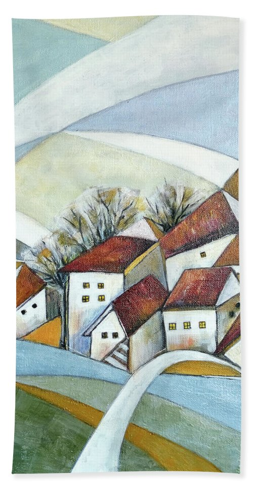 Abstract Hand Towel featuring the painting Quiet Village by Aniko Hencz