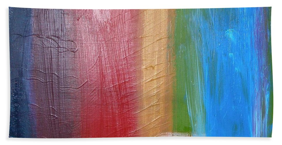 Rainbow Bath Towel featuring the painting Radiance by Maria Bonnier-Perez