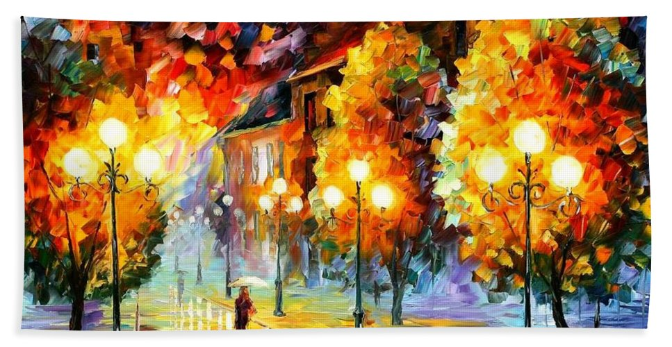Afremov Bath Sheet featuring the painting Rain In The Night City by Leonid Afremov