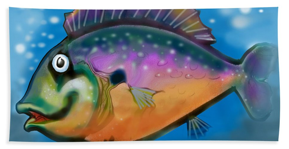 Fish Hand Towel featuring the greeting card Rainbow Fish by Kevin Middleton