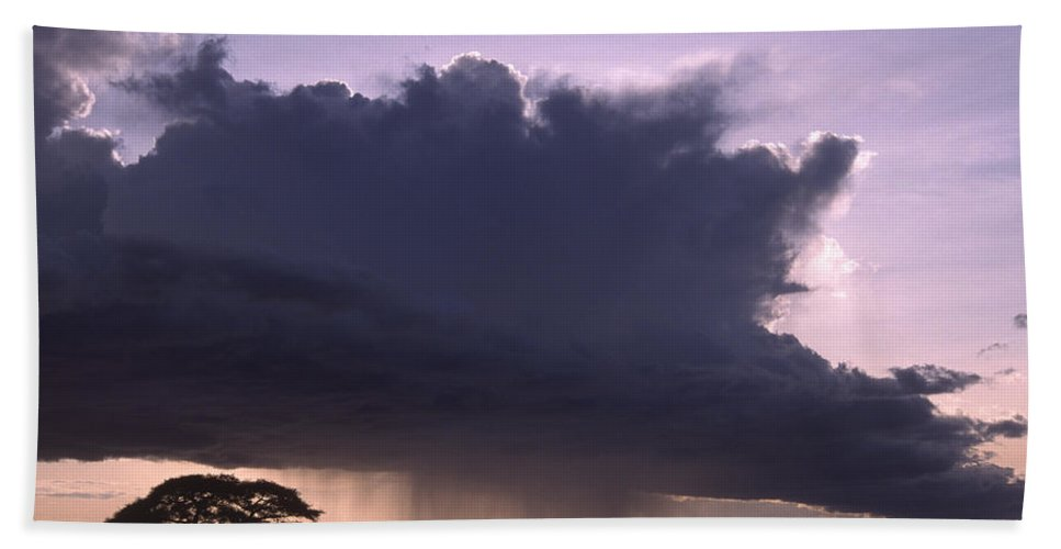 Africa Hand Towel featuring the photograph Rainstorm At Amboseli by Michele Burgess
