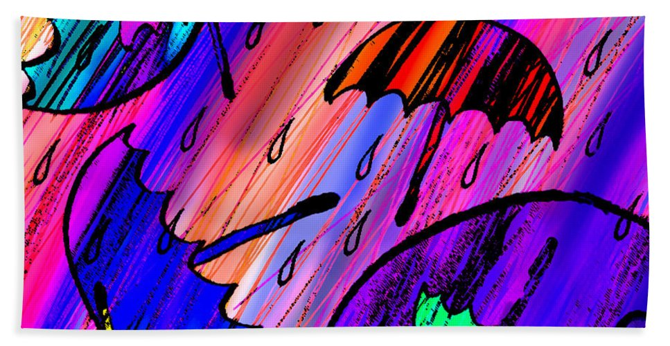 Abstract Bath Sheet featuring the digital art Rainy Day Love by Rachel Christine Nowicki