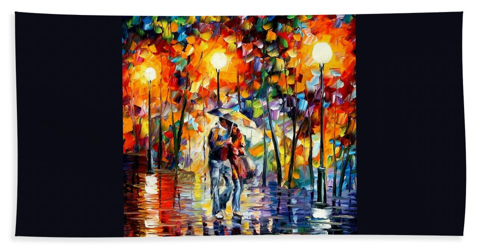 Afremov Bath Sheet featuring the painting Rainy Evening by Leonid Afremov