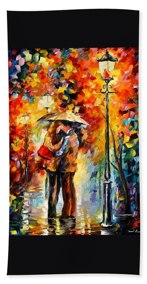 Woman Bath Sheet featuring the painting Rainy Kiss by Leonid Afremov