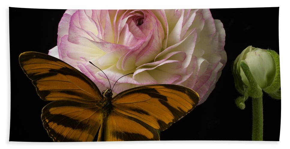 Pink Hand Towel featuring the photograph Ranunculus And Butterfly by Garry Gay