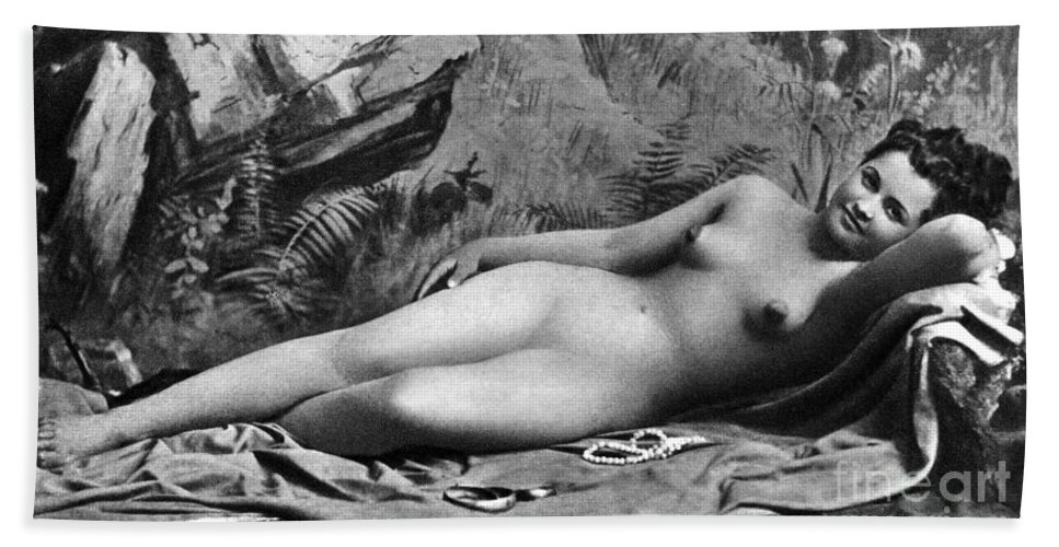 1885 Hand Towel featuring the photograph Reclining Nude, C1885 by Granger