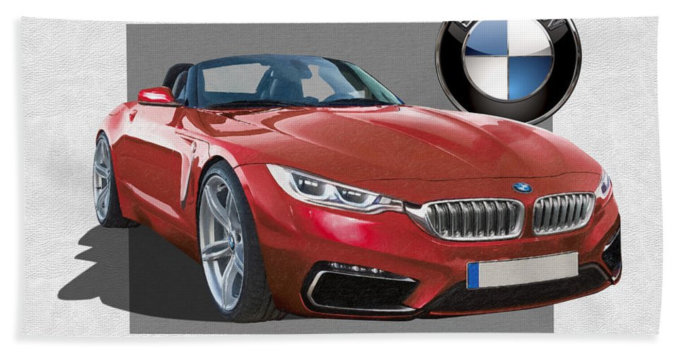 �bmw� Collection By Serge Averbukh Bath Towel featuring the photograph Red 2018 B M W Z 5 with 3 D Badge by Serge Averbukh
