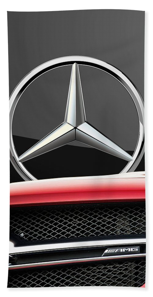 'auto Badges' By Serge Averbukh Bath Towel featuring the photograph Red Mercedes - Front Grill Ornament and 3 D Badge on Black by Serge Averbukh