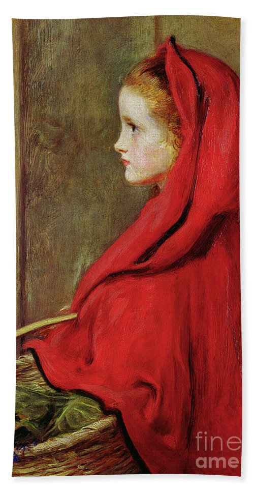 Millais Hand Towel featuring the painting Red Riding Hood by John Everett Millais