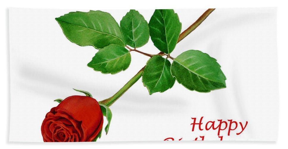 Rose Hand Towel featuring the painting Red Rose Happy Birthday by Irina Sztukowski