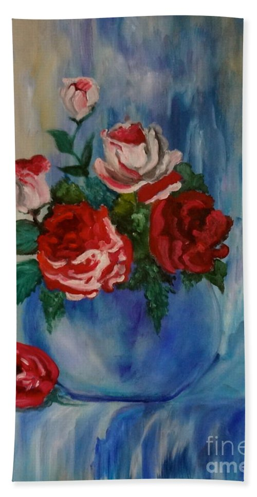 Red And White Roses Canvas Print Hand Towel featuring the painting Red Roses by Jenny Lee