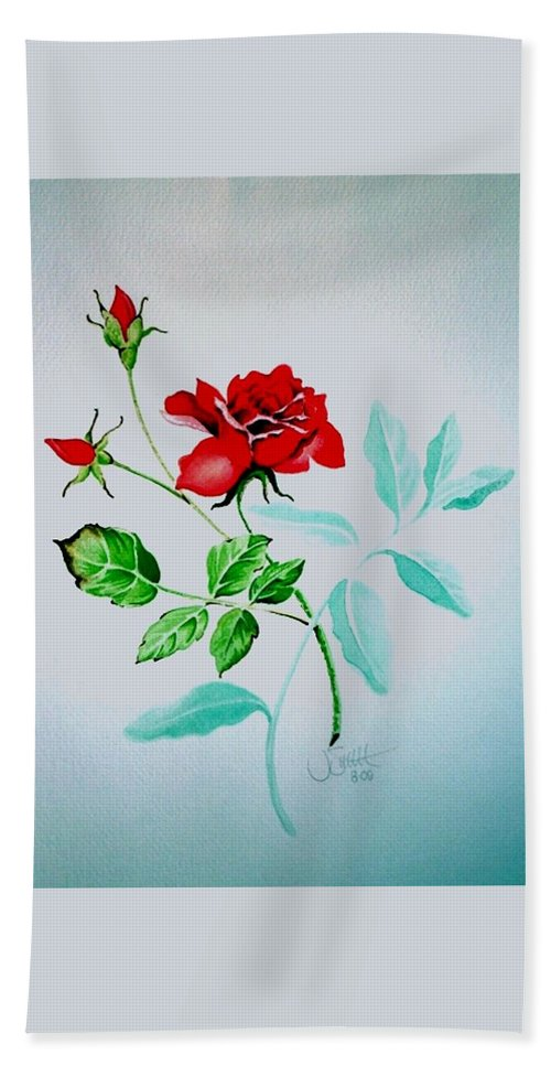 Roses Bath Sheet featuring the painting Red Roses by Jimmy Smith