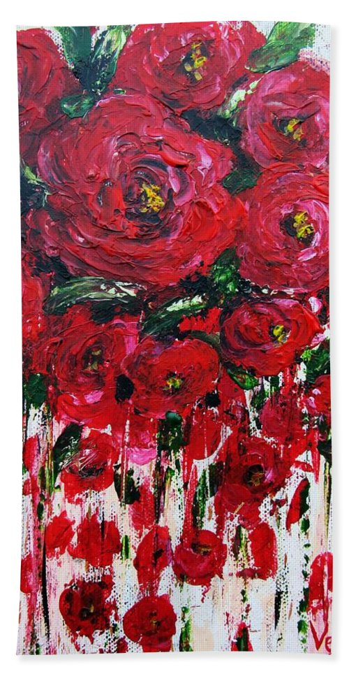 Flowers Hand Towel featuring the painting Red Roses by Vesna Martinjak