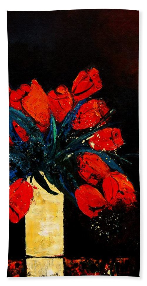 Flowers Hand Towel featuring the painting Red Tulips by Pol Ledent