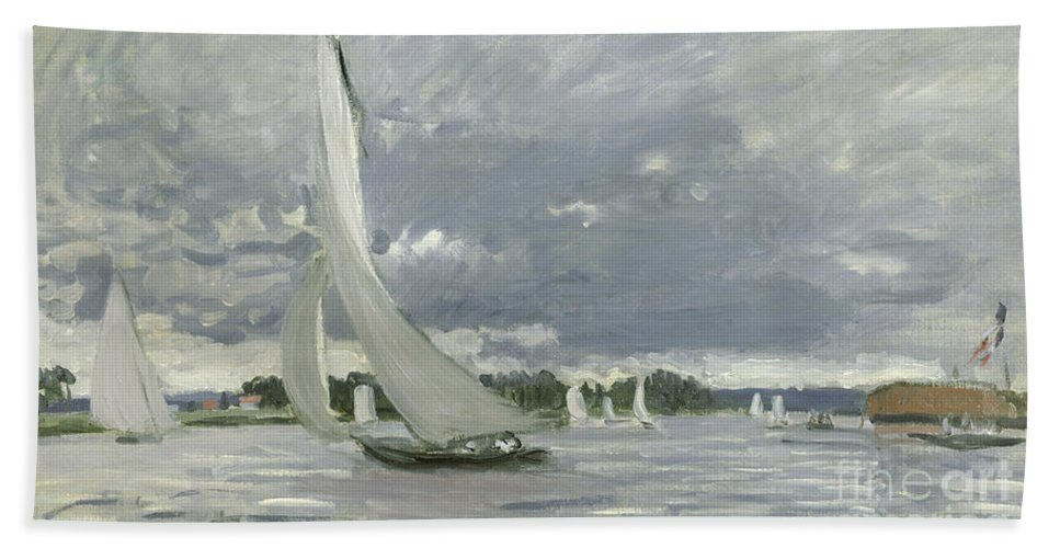 Regatta Bath Towel featuring the painting Regatta At Argenteuil by Claude Monet
