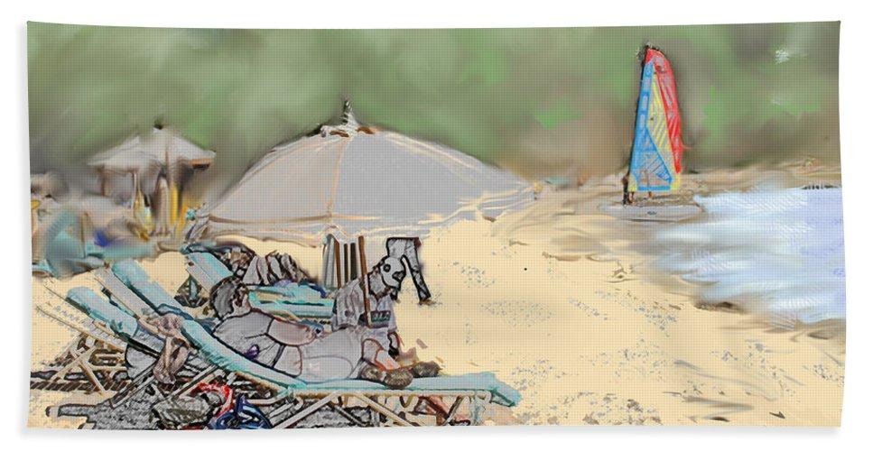 Beach. Toursts Bath Sheet featuring the digital art Reggae Beach by Ian MacDonald