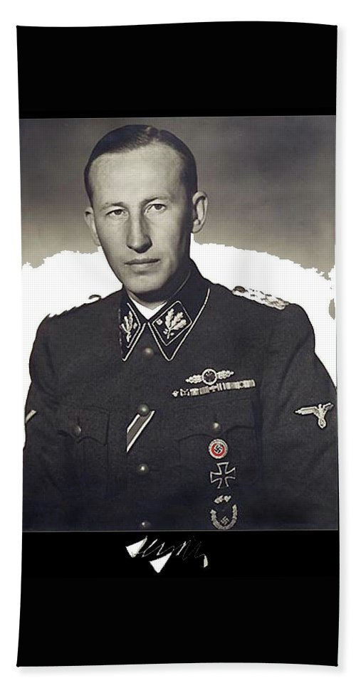 Reinhard Heydrich Circa 1940 Color Added 2016 Hand Towel featuring the photograph Reinhard Heydrich Circa 1940 Color Added 2016 by David Lee Guss