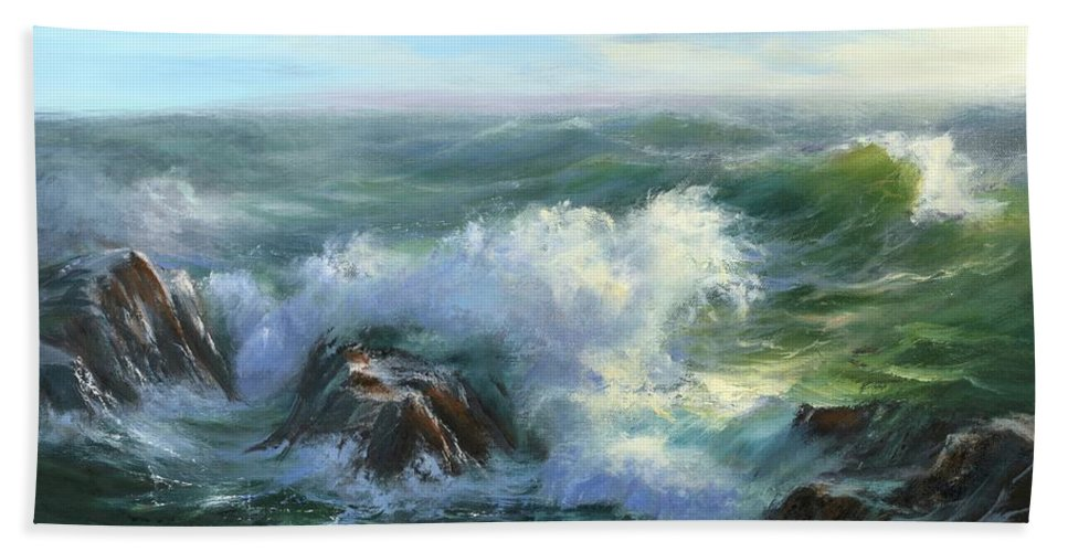 Seascape Hand Towel featuring the painting Restless by Sharon Abbott-Furze