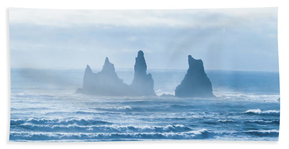 Bath Sheet featuring the photograph Reynisdrangar. by Angela Aird