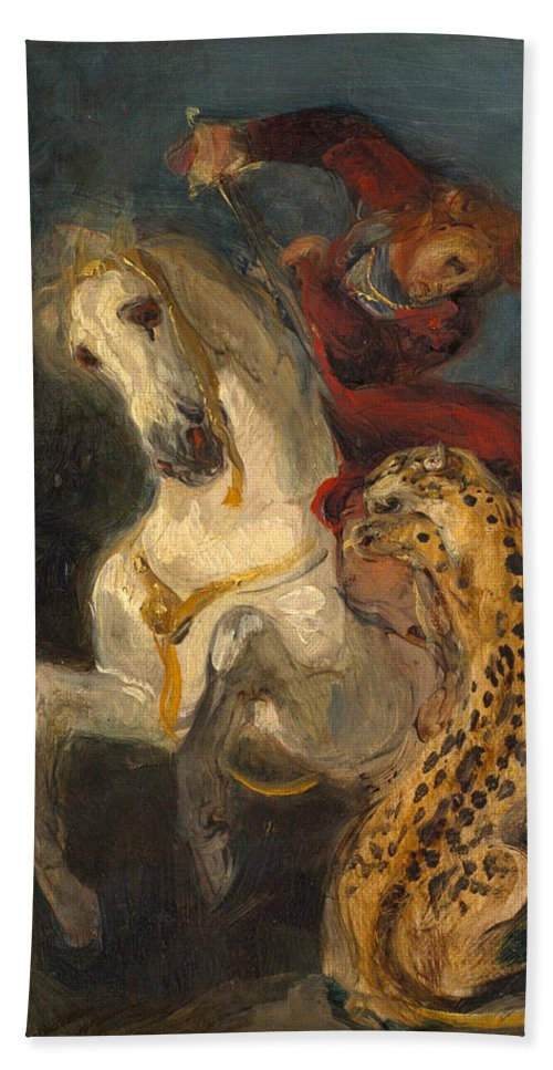 Eugene Delacroix Hand Towel featuring the painting Rider Attacked By A Jaguar by Eugene Delacroix