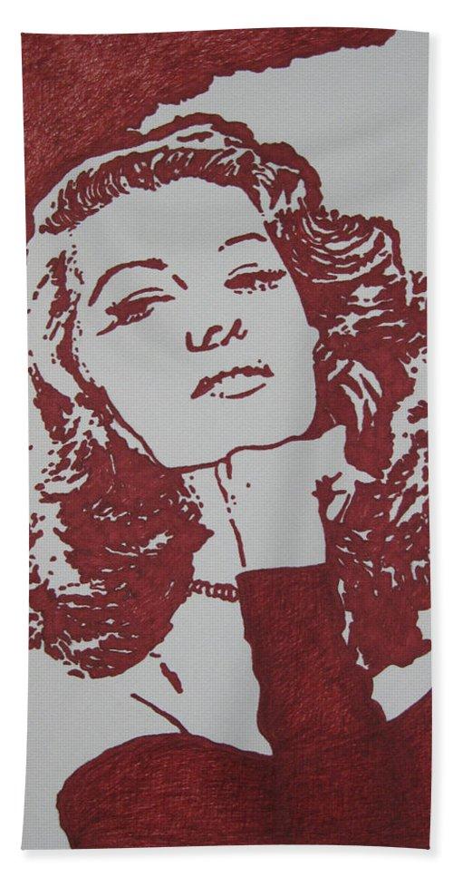 Rita Hand Towel featuring the drawing Rita by Lynet McDonald